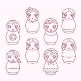 Grupo de matryoshka moderno da boneca dos ícones Ilustração do Vetor