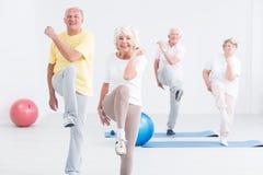 Grupo de mayores en el gimnasio imagen de archivo libre de regalías