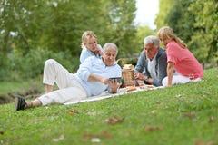 Grupo de mayores que tienen comida campestre al aire libre foto de archivo