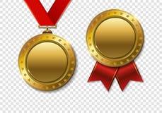 Grupo de MEDA realístico da concessão do troféu do ouro 3d do campeão 3d realístico Fotos de Stock Royalty Free