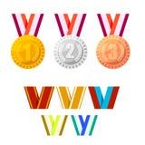 Grupo de medalhas ouro, prata e bronze do campeão Fotografia de Stock