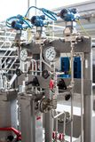 Grupo de medición de la presión de la turbina Centrales eléctricas foto de archivo libre de regalías