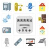 Grupo de medidor, painel, painel, telecontrole, controle da voz, Automatio ilustração do vetor
