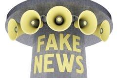 Grupo de megáfonos en el poste con noticias de la falsificación del texto stock de ilustración