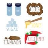 Grupo de mel do açúcar do café das especiarias Fotografia de Stock