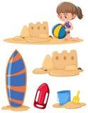 Grupo de menina que joga na areia ilustração do vetor