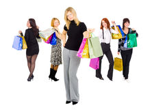 Grupo de meninas de compra Imagens de Stock Royalty Free