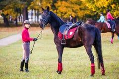 Grupo de meninas do cavaleiro que andam com os cavalos no parque Fotografia de Stock Royalty Free