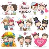 Grupo de menino bonito e de menina dos desenhos animados ilustração stock