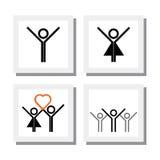 Grupo de menino entusiasmado, espirituoso da menina em ícones do vetor do amor Imagem de Stock Royalty Free