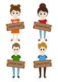 Grupo de meninos e de meninas dos desenhos animados que guardam um sinal para seu texto Vetor Fotografia de Stock
