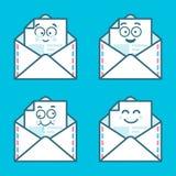 Grupo de mensagens do emoji nas letras Conceito de sms felizes, novos, bate-papo Projeto gráfico do logotype moderno liso da tend Fotografia de Stock Royalty Free