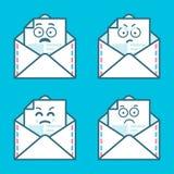 Grupo de mensagens do emoji nas letras Conceito do sorriso irritado, triste Projeto gráfico do logotype moderno liso da tendência Imagens de Stock