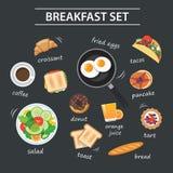 Grupo de menu do café da manhã no quadro Foto de Stock Royalty Free