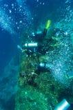 Grupo de mergulhadores que vão profundamente fotos de stock royalty free