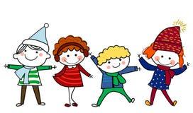 Grupo de miúdos com sinal ou a bandeira em branco Fotos de Stock Royalty Free