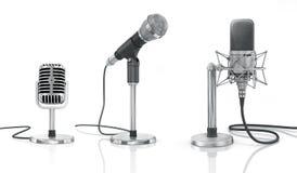 Grupo de microfones profissionais Fotos de Stock