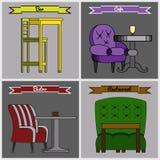 Grupo de mobília para barras, bistros, cafés e restaurantes Fotografia de Stock Royalty Free