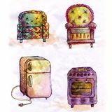 Grupo de mobílias ilustração royalty free