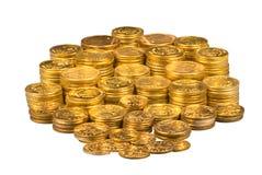 Grupo de moedas de ouro imagens de stock