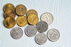 Grupo de moedas do banco de Rússia Foto de Stock