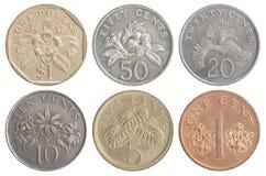 Grupo de moedas de Singapura imagens de stock