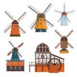 Grupo de moinho de vento e de watermill rurais tradicionais Fotos de Stock Royalty Free