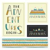 Grupo de molde exterior à moda dos cartões As aventuras começam Fotografia de Stock Royalty Free