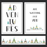 Grupo de molde exterior à moda dos cartões As aventuras estão esperando-o Imagem de Stock Royalty Free