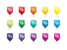 Grupo de molde novo da ilustração do gráfico de vetor dos pinos do espectro colorido do arco-íris isolado no fundo branco Foto de Stock