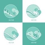 Grupo de molde simples do logotipo do círculo da água do eco quatro ilustração stock