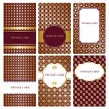 Grupo de moldes do cartão do ouro Fotografia de Stock Royalty Free