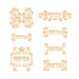 Grupo de moldes do logotipo do vintage com elementos florais ilustração stock