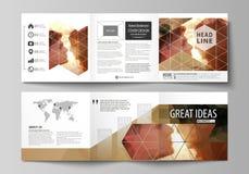 Grupo de moldes do negócio para folhetos quadrados dobráveis em três partes do projeto Tampa do folheto, disposição abstrata do v ilustração stock