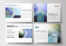 Grupo de moldes do negócio para corrediças da apresentação Disposições abstratas editáveis fáceis no projeto liso Estrutura da mo Imagens de Stock