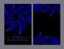 Grupo de moldes do projeto do vetor Tampa abstrata da brochura do vetor Folheto da beleza Azul e preto Imagem de Stock Royalty Free