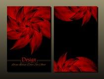Grupo de moldes do projeto do vetor Tampa abstrata da brochura do vetor Folheto da beleza Vermelho e preto Fotografia de Stock