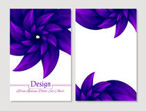 Grupo de moldes do projeto do vetor Tampa abstrata da brochura do vetor Folheto da beleza Violeta e branco Fotografia de Stock Royalty Free