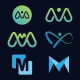 Grupo de moldes do projeto incorporado com letra colorida de M ilustração royalty free