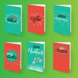 Grupo de moldes dos folhetos do Natal Coleção dos cartões dos feriados do vetor Mão tirada rotulando elementos Imagens de Stock Royalty Free