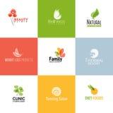 Grupo de moldes e de ícones do logotipo da beleza e da natureza