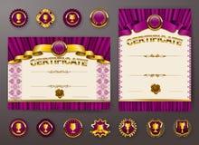 Grupo de moldes elegantes do certificado, diploma ilustração do vetor