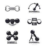 Grupo de moldes gráficos preto e branco do logotipo do peso Fotografia de Stock