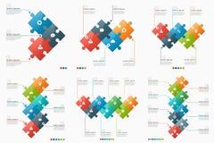 Grupo de 3-8 moldes infographic da opção com seções do enigma Fotografia de Stock