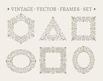 Grupo de moldes ornamentado elegantes do design floral Foto de Stock Royalty Free