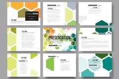 Grupo de 9 moldes para corrediças da apresentação Fundo colorido abstrato do negócio, textura à moda moderna do vetor Fotos de Stock
