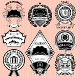 Grupo de moldes para o emblema na educação Fotografia de Stock