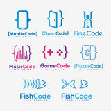 Grupo de moldes para o logotipo da empresa de software Imagens de Stock Royalty Free
