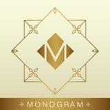 Grupo de moldes simples e graciosos do projeto do monograma, li elegante Imagem de Stock