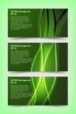 Grupo de moldes verdes da bandeira Imagens de Stock